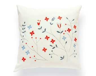 Embroidered cushion Prairie blue