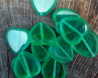 Heart shaped glass Czech beads, 6 in a set