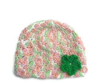 Baby Girl Flower Hat, Crochet Baby Hat, Flower Hat, , Baby Girl Hat with Flower,  0-3 Months Baby Hat