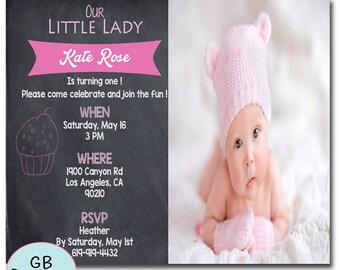 GIRLS FIRST BIRTHDAY Invitation, Girls 1st Birthday Invitation, Modern Birthday Invitation, First Birthday Invitation Girl, Printable