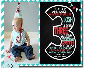 THIRD BIRTHDAY INVITATION Boy, 3RD Birthday Invitation Boy, Boys 3RD Birthday Invitation, Printable 3RD Birthday Invitation