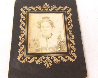 1890's original Photography on cardboard Young Woman portrait photo