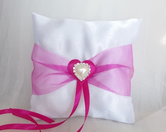 Ring Bearer Pillow  Pink Ring Bearer Pillow Pink  Ivory Ring bearer Pillow  Pink Organza and  Strass Pearl Heart in the center