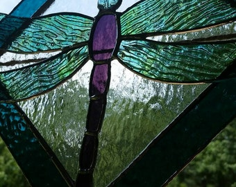 3-D Dragonfly Original Stained Glass Unique