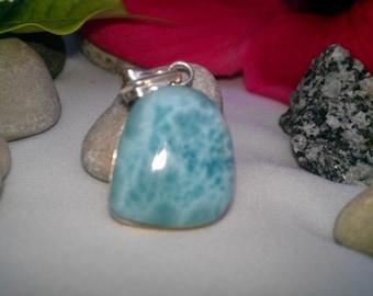 Larimar pendant, Azure Larimar strange form, blue strange pendant, Caribbean blue, sky blue