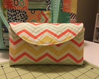 Quilted Fabric Bifold Wallet - Chevron