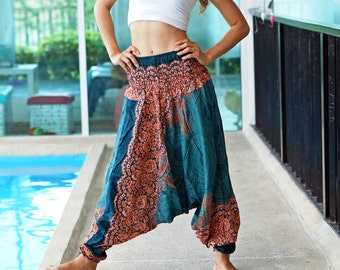 Floral Harem Pants Rayon Pants, Boho Strenchy Pants, Elastic Waist Clothing Beach Women Baggy Casual Turquoise color T0509