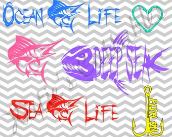 Salt Water Fishing, Deep Sea Fishing, Ocean Life, Sea Life, Fish On Hook, Hook Heart .SVG/.DXF/.EPS and .png Files