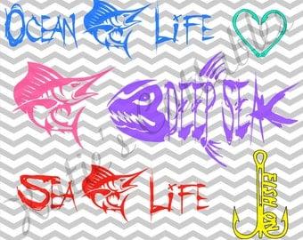 Salt Water Fishing, Deep Sea Fishing, Ocean Life, Sea Life, Fish On Hook, Hook Heart .SVG/.DXF/.EPS and .png Files