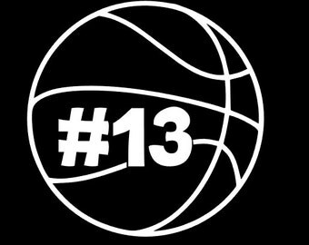 Basketball Silhouette Decal with Player Number and Name, Boy or Girl!