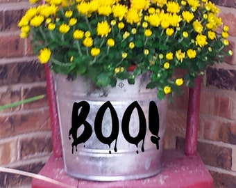 "Halloween Galvanized Buckets ~ 8 Qt ~ Fall Decor ~ Front Porch Decoration ~ 10"" diameter ~ Witch, Boo!, Happy Halloween"