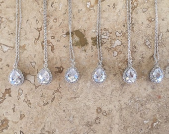 SHIPS FREE, Bridesmaid gift, necklace sets, Cubic Zirconia teardrop necklace, bridesmaid Jewelry
