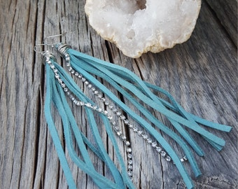 Light Blue Suede Tassel Earrings with Sparkly Chain