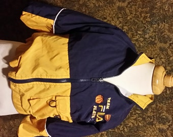 3T- Little boy yellow and navy vintage Fila jacket, zip front closure and flap pockets.