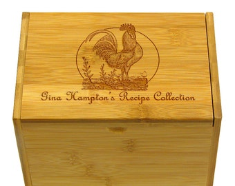 Rooster Recipe Box 4x6 Personally Engraved