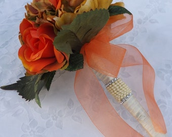wedding bridal bouquet burnt orange roses