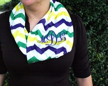 Monogram Scarf Monogram Infinity Scarf Embroidered Scarf Personalized Scarf