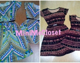 Matching Mother and Daughter Dress (Mom and Me) - Brown and Green