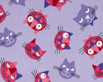 SALE 6.99 YARD - Robert Kaufman Whiskers & Tails Cats All over Violet  14570-22 - 100% Cotton - FBTY Clearance Fabric Sale