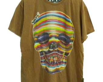 Colorful skull tops brown tshirt women tops men teenages clothing**crew neck t shirt size L, XL one size **short sleeve tshirt