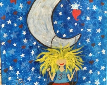 Smiles on the Moon, original art on Canvas.