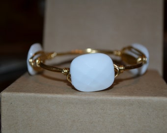 White wire wrapped bangle