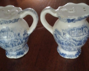 Blue and White Salt and Pepper Shakers Country Kitchen