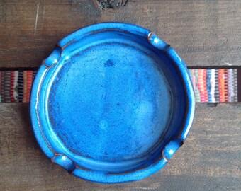 Blue glaze ceramic pottery ashtray terracotta earthenware clay handmade