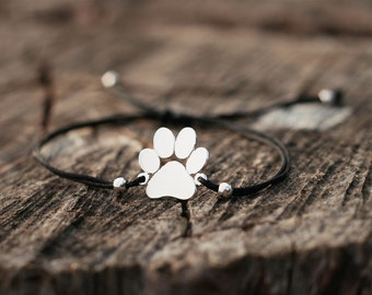 Adjustable Rope Paw Bracelets / Paw Bracelets / Rope Bracelets /Silver, Gold Plated or Rose Plated Charm.