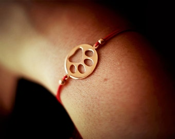Adjustable Rope Disk Paw Print Bracelets / Paw Print Bracelets / Disk Bracelets /Silver, Gold Plated or Rose Plated Charm.