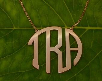 Modern Gold Monogram Necklace, 925k Solid silver rose gold palted monogram necklace
