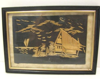 SALE Vintage Oriental Straw Art On Black With Frame Ready For Hanging