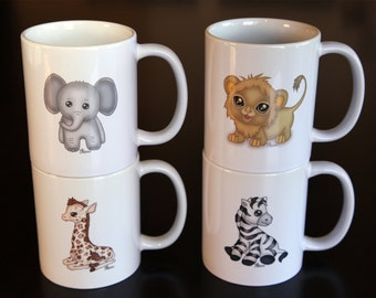 Safari Baby Animal Coffee Mug Set of 4