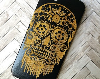 Laser Engraved Floral Bloody Sugar Skull Day of the Dead Plumeria and Mandala on Genuine Wood phone Case for iPhone 5s, 6 and 6 plus IP-041