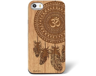 Laser Engraved Hand Drawn Aztec Mandala Om symbol with Paisley Feather Dream Catcher on Wood phone Case for iPhone 5/S 6 and 6 plus IP-042