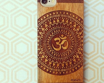 Laser Engraved Hand Drawn Native American Aztec Mandala Om symbol on Wood phone Case for iPhone 5/S 6 and 6/S plus IP-045