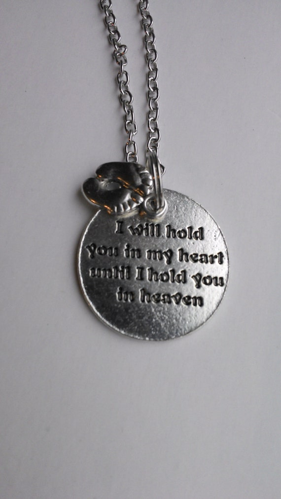 Memorial baby necklace quote i will hold you in my heart for Baby jewelry near me