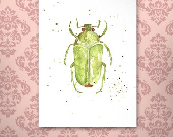 Green Beetle Watercolor - Art print insects decor, wall art, unique gift ideas, scarab, insects illustration, insects watercolor, painting