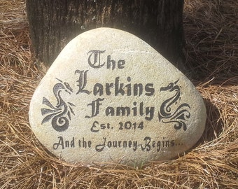 Engraved Family Name Stone, Wedding Gift, Welcome Rock