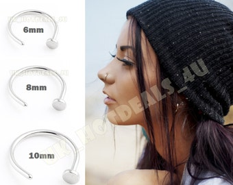 Extra Thin Small 0.8mm Nose Ring Small Nose Hoop Diameter 6mm,8mm,10mm Piercing
