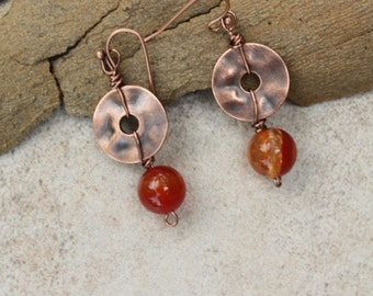 Carnelian and hammered copper earrings
