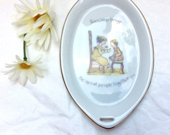 """Holly Hobby oval trinket dish. """"Friendship brings the nicest people together""""."""