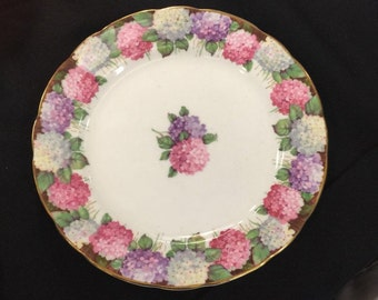 "Vintage Paragon Hydrangea pattern side salad plate 6 3/4"" fine bone china"