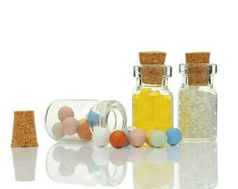 10pcs 1ml Glass Bottles Transparent Bottle Corkscrew Bottle Pendant Cork Small Glass Pendants DIY Necklace Jewelry Supplies