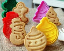 4x Christmas Cookie Cutters Plunger Biscuit Mold Fondant Cake Topper Plungers edible snowman christmas bauble gingerbread man christmas tree