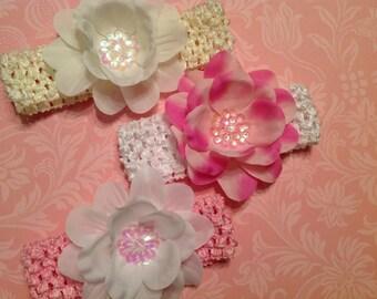 Fabric sequenced flower on a crochet headband