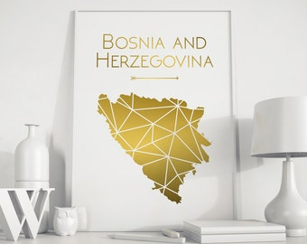 Bosnia and Herzegovina map Bosnia and Herzegovina print Bosnia art Bosnia wall art Europe art gold art printable Bosnia map Bosnia print