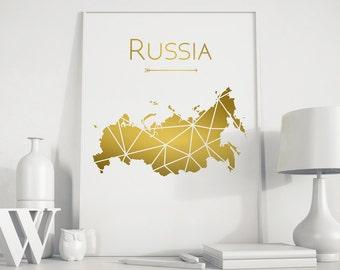 Russia map, Russia art, Russia poster, Gold art, Gold print, geometric print, gold decor, minimalist art, home decor, Russia print, home