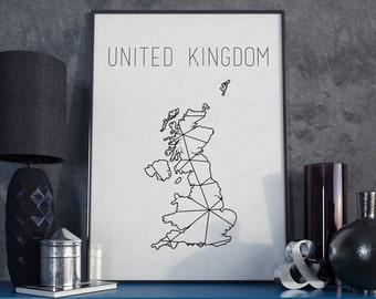 United Kingdom art UK map United Kingdom map United Kingdom print UK printable United Kingdom wall art UK Geometric art Scandinavian style