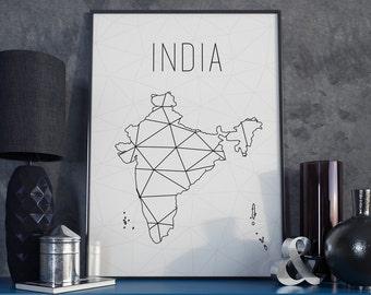 India decor India art India map India print India wall art India printable minimalist art Asia map USA Map Geometric art Scandinavian style